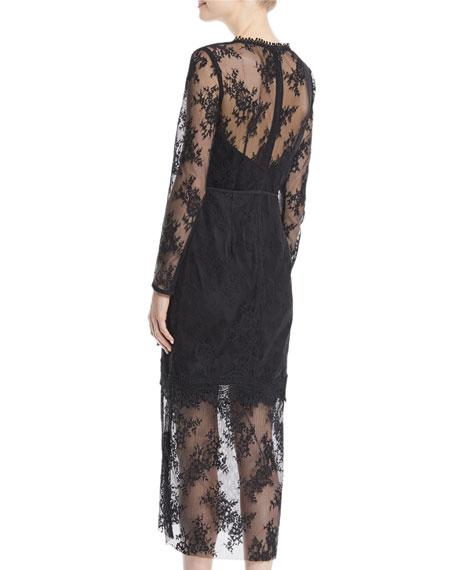 True Chemistry Long-Sleeve Lace Midi Dress