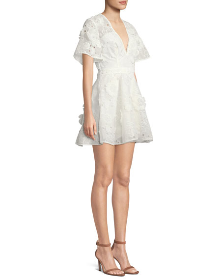 Virtuous Lace Floral Applique Mini Dress