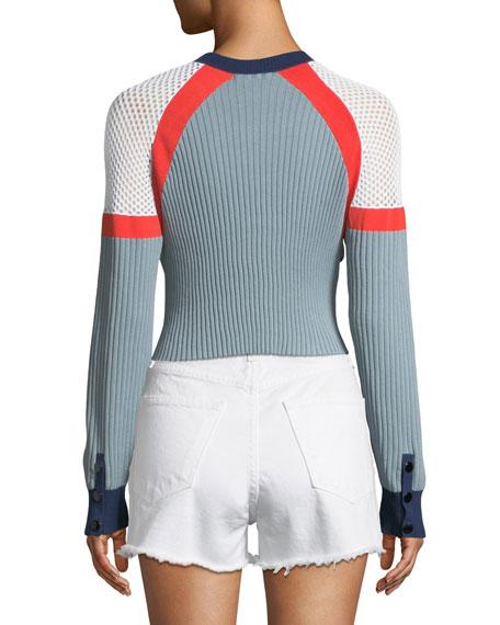Lark Crewneck Long-Sleeve Cropped Colorblock Knit Sweater