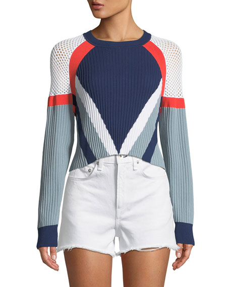 Rag & Bone Lark Crewneck Long-Sleeve Cropped Colorblock