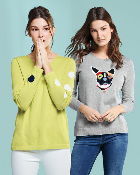 French Bulldog Patchwork Intarsia Sweater