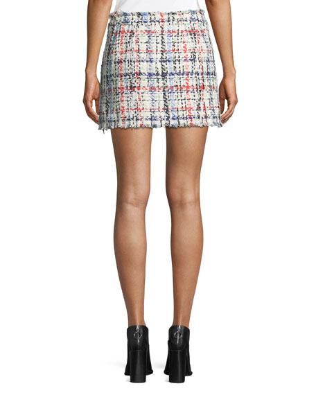 Otis Snap-Front Tweed Mini Skirt
