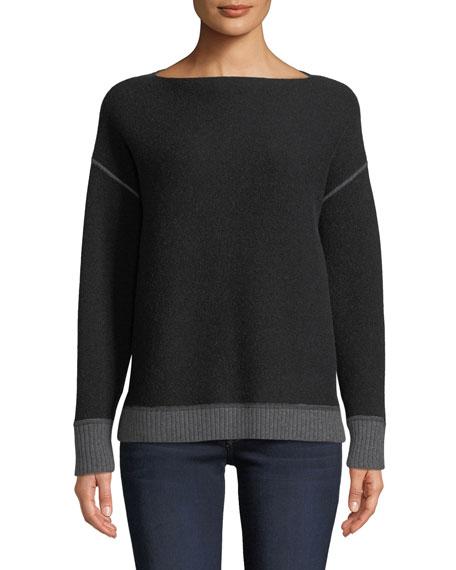 Reversible Double-Knit Cashmere Sweatshirt