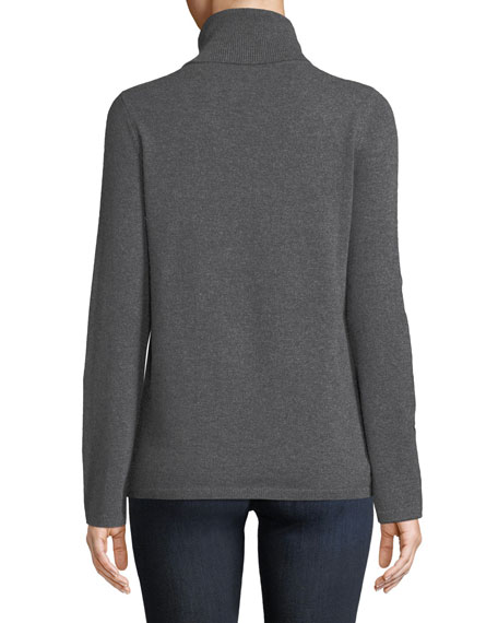 Cashmere Lace-Trim Turtleneck Sweater