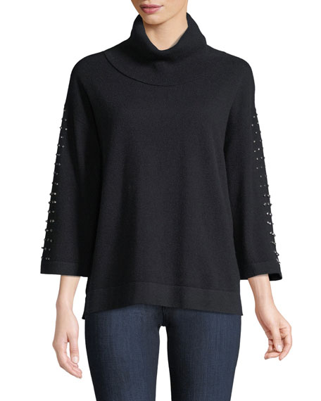Cashmere Embellished-Sleeve Sweater