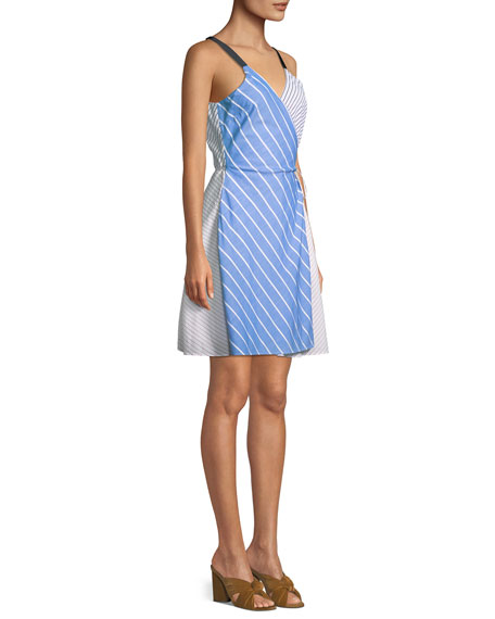 Editha Striped Sleeveless Wrap Dress