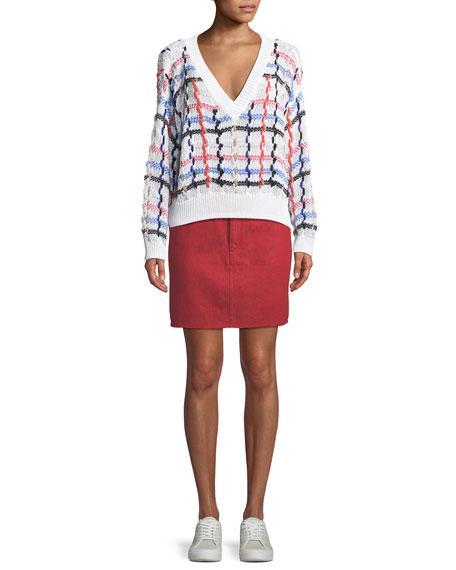 Moss High-Rise Straight Denim Skirt