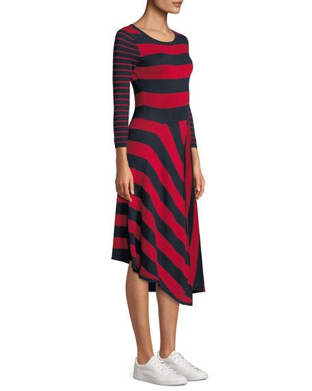 Ecedra Striped Asymmetric Midi Dress
