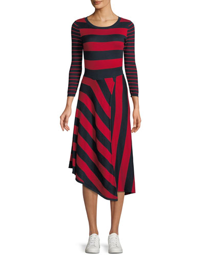 Ecedra Striped Asymmetric Midi Dress