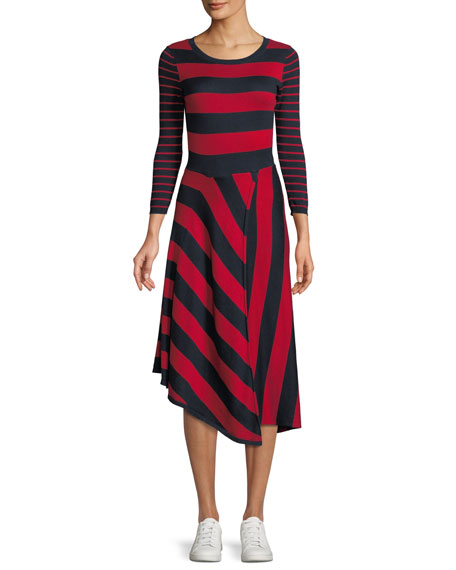 Joie Ecedra Striped Asymmetric Midi Dress