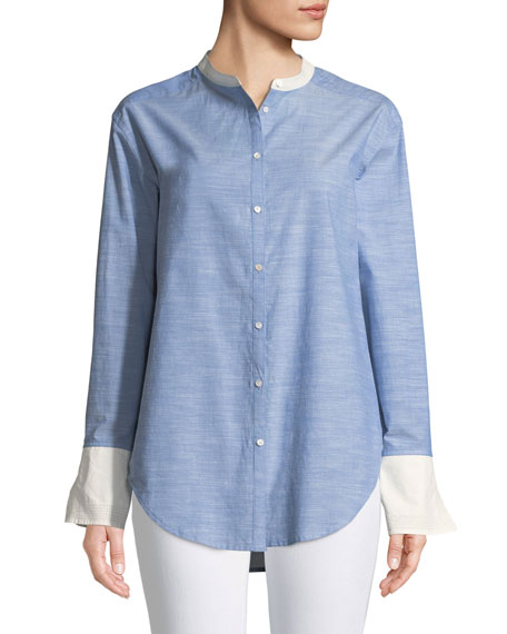 Betra Long-Sleeve Button-Down Top