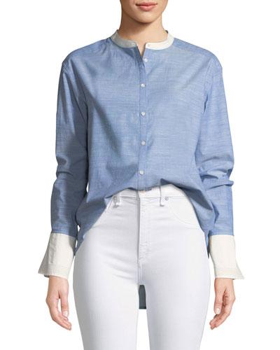 Betra Long-Sleeve Button-Down Top