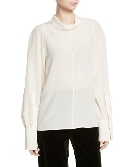 Laurel Turtleneck Silk Top