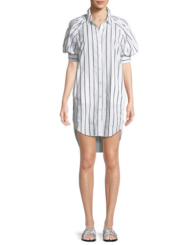 Sephira Striped Puff-Sleeve Shirtdress