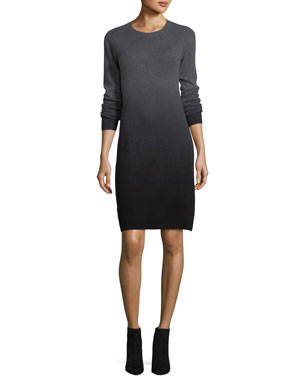 75e0778a43f3 Neiman Marcus Cashmere Collection Dip-Dyed Cashmere Sweaterdress
