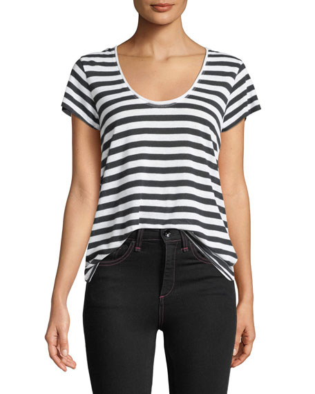Laila Striped Scoop-Neck Tee
