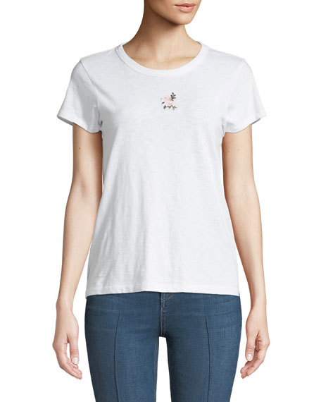 Crewneck Short-Sleeve Cotton Tee w/ Flower Embroidery
