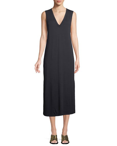 Phoenix V-Neck Sleeveless Midi Shift Dress