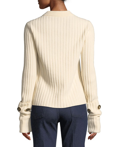 Soft Wool V-Neck Sweater  with Button Detail