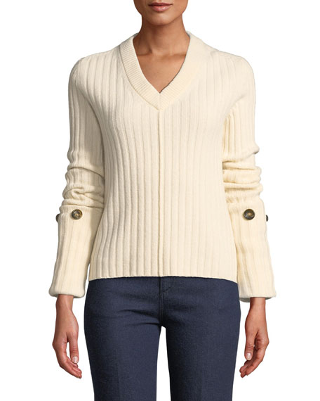 Joseph Soft Wool V-Neck Sweater with Button Detail