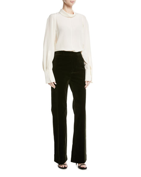 Ferguson Stretch Velvet Wide-Leg Pants