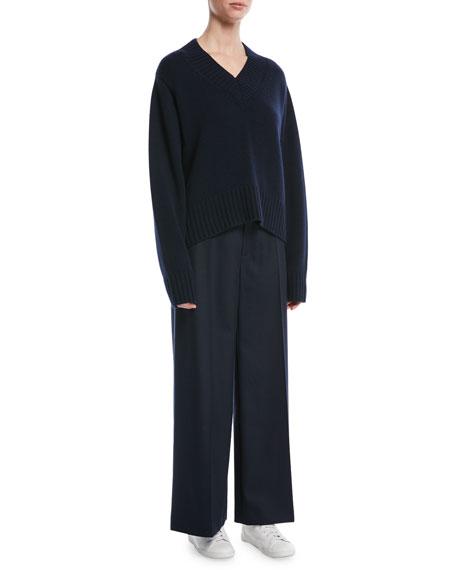 Dana Wide-Leg Stretch-Flannel Pants