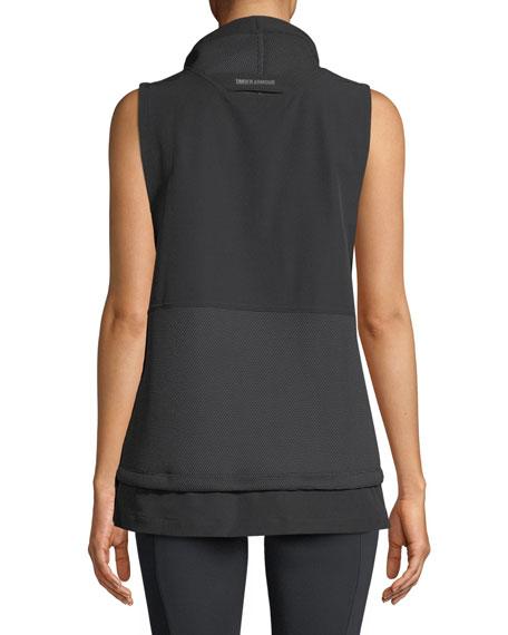 Mixed Media Woven Half-Zip Vest