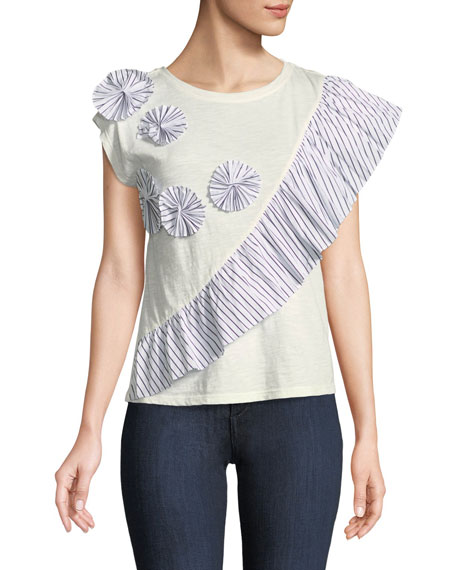 Joie Eckarta Ruffle Applique Short-Sleeve Tee