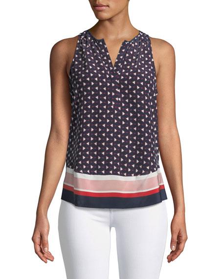 Xandry Printed Sleeveless Silk Top