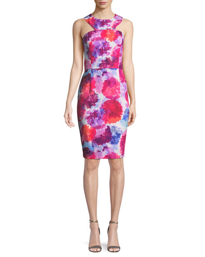 Delano Watercolor-Print Racerback Sheath Dress