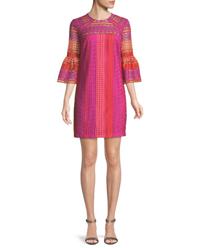 Cambria Lace Bell-Sleeve Mini Dress