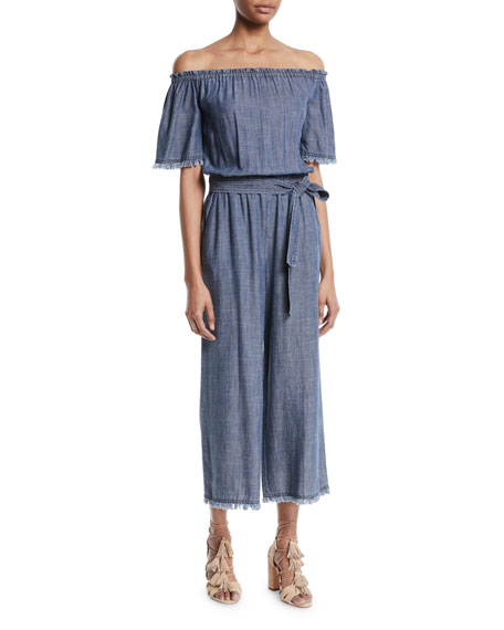 Trina Turk Chambray Key Off-the-Shoulder Jumpsuit