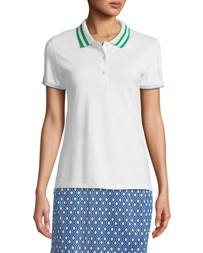 Pleated-Collar Short-Sleeve Polo Top