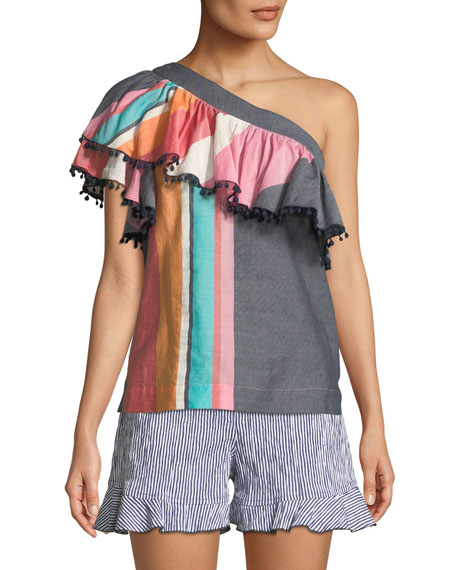 Trina Turk Los Angeles One-Shoulder Striped Top