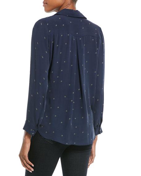 Nina Star-Print Silk Blouse
