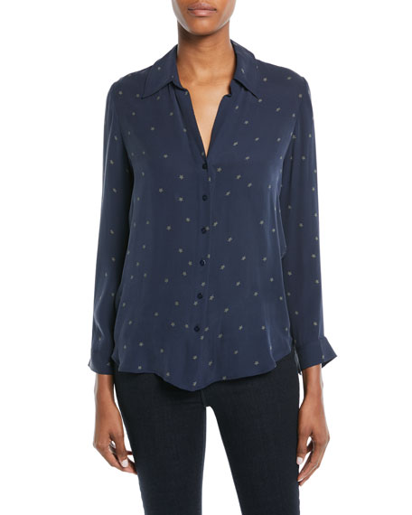 Nina Star-Print Silk Blouse