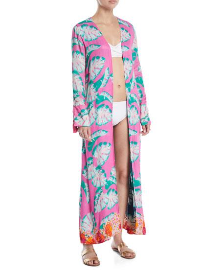 Ellis Palm-Print Open-Front Swim Coverup Robe