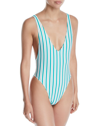 Pride Striped High-Leg One-Piece Swimsuit