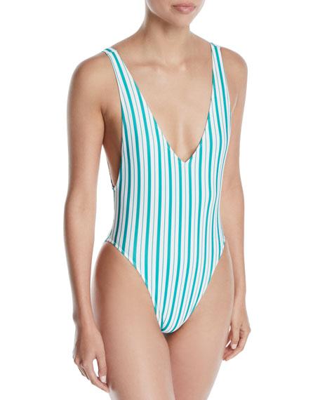 Pride Striped High-Leg One-Piece Swimsuit