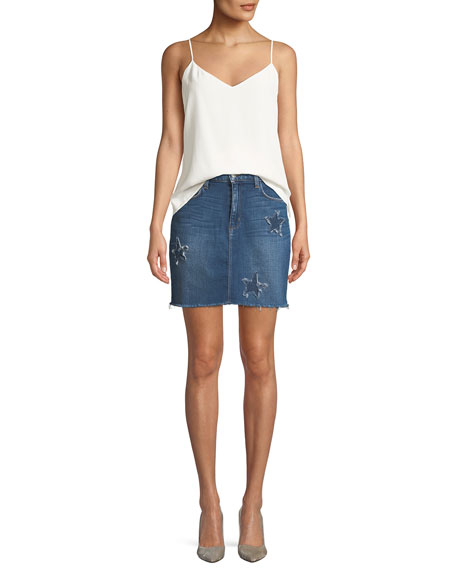 Estrella Star-Patch Straight Denim Skirt