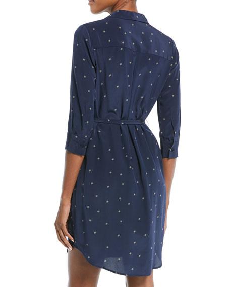 Stella Long-Sleeve Star-Print Silk Shirtdress