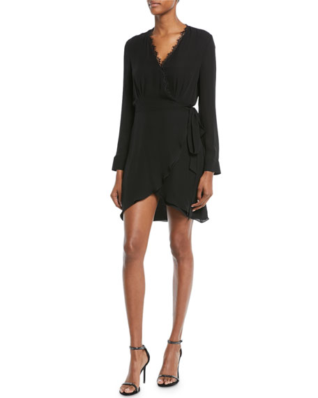 L'Agence Trino Long-Sleeve Silk Wrap Dress