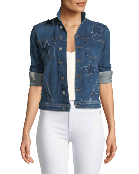 L'Agence Celine Button-Down Denim Jacket w/ Star Details