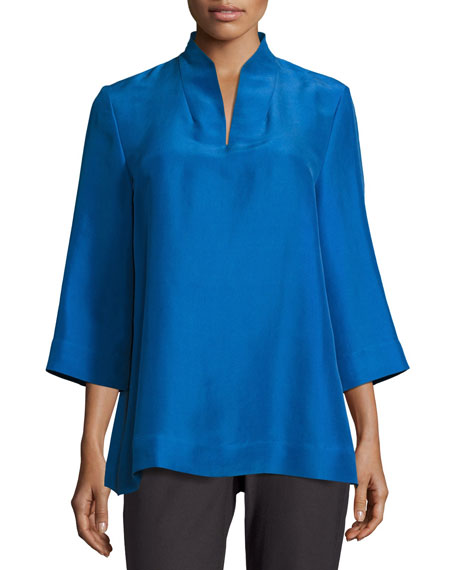 3/4-Sleeve High-Collar Doupioni Silk Blouse, Plus Size