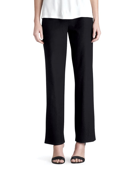 Eileen Fisher Washable-Crepe Straight-Leg Pants