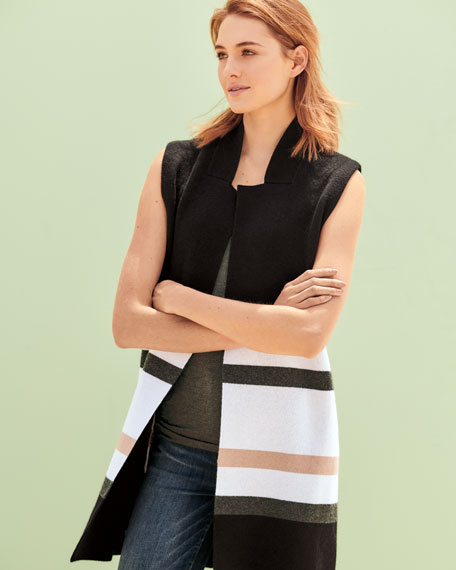 Striped Open-Front Cashmere Vest