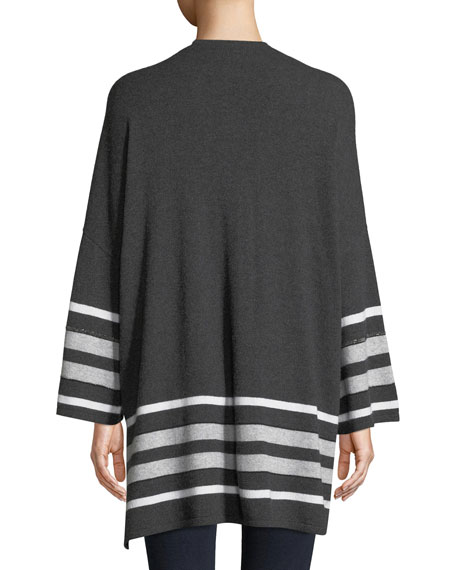Cashmere Striped Oversized Cardigan