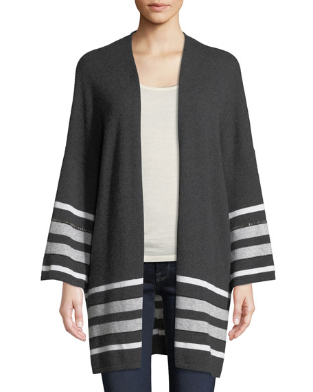 Neiman Marcus Cashmere Collection Cashmere Striped Oversized