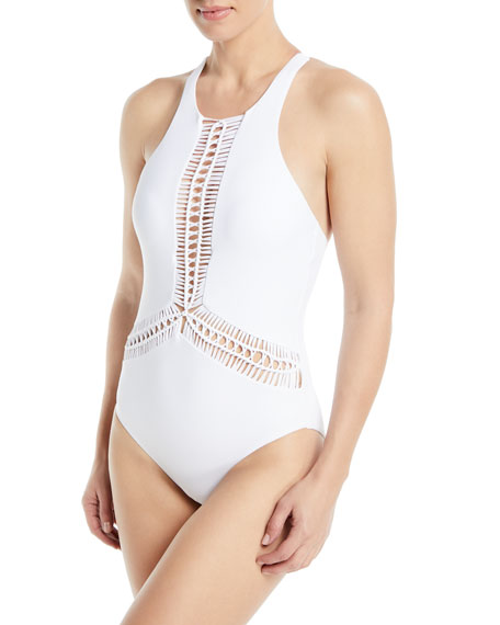 RED CARTER SPLICE & DICE HIGH-NECK MACRAME MAILLOT ONE-PIECE SWIMSUIT