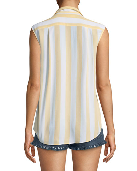 True Striped Sleeveless Silk Shirt
